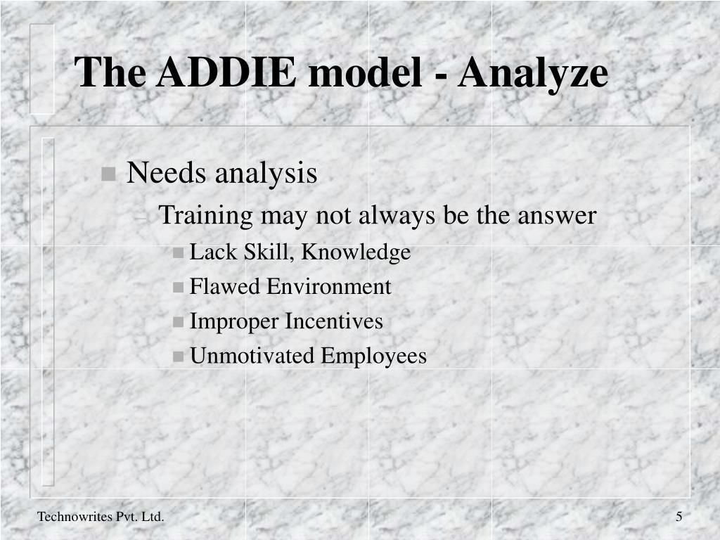 The ADDIE model - Analyze