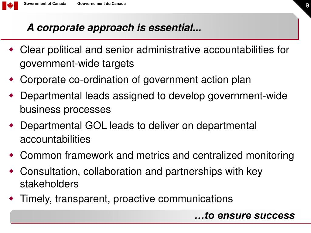 A corporate approach is essential...