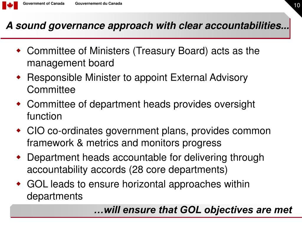 A sound governance approach with clear accountabilities...