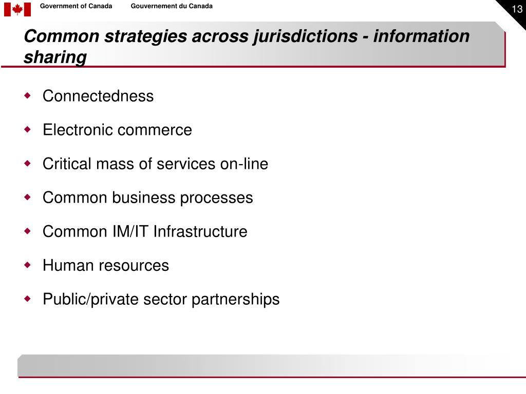 Common strategies across jurisdictions - information sharing