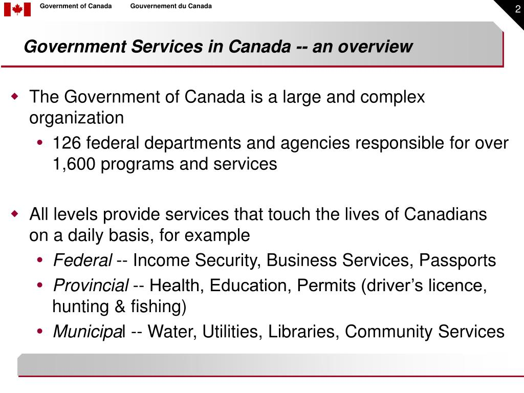 Government Services in Canada -- an overview