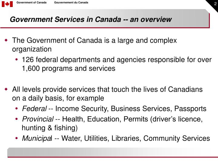 Government services in canada an overview l.jpg
