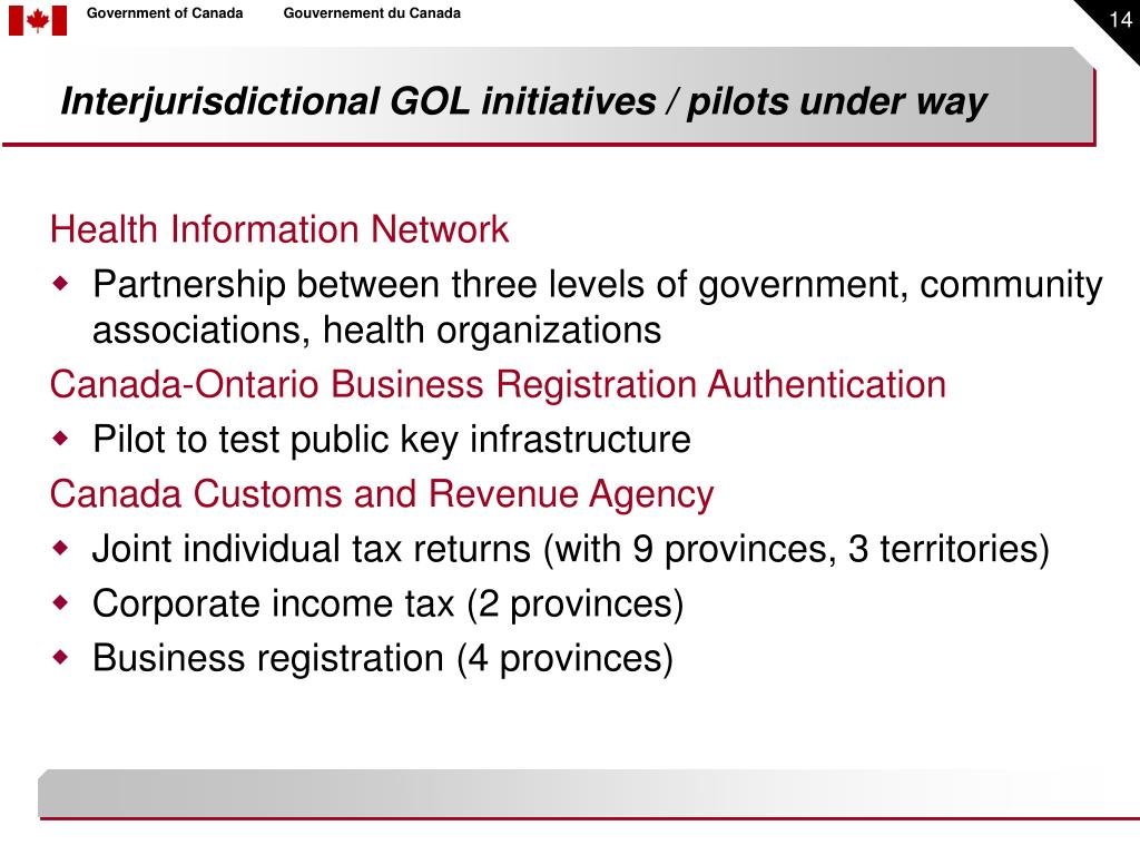 Interjurisdictional GOL initiatives / pilots under way