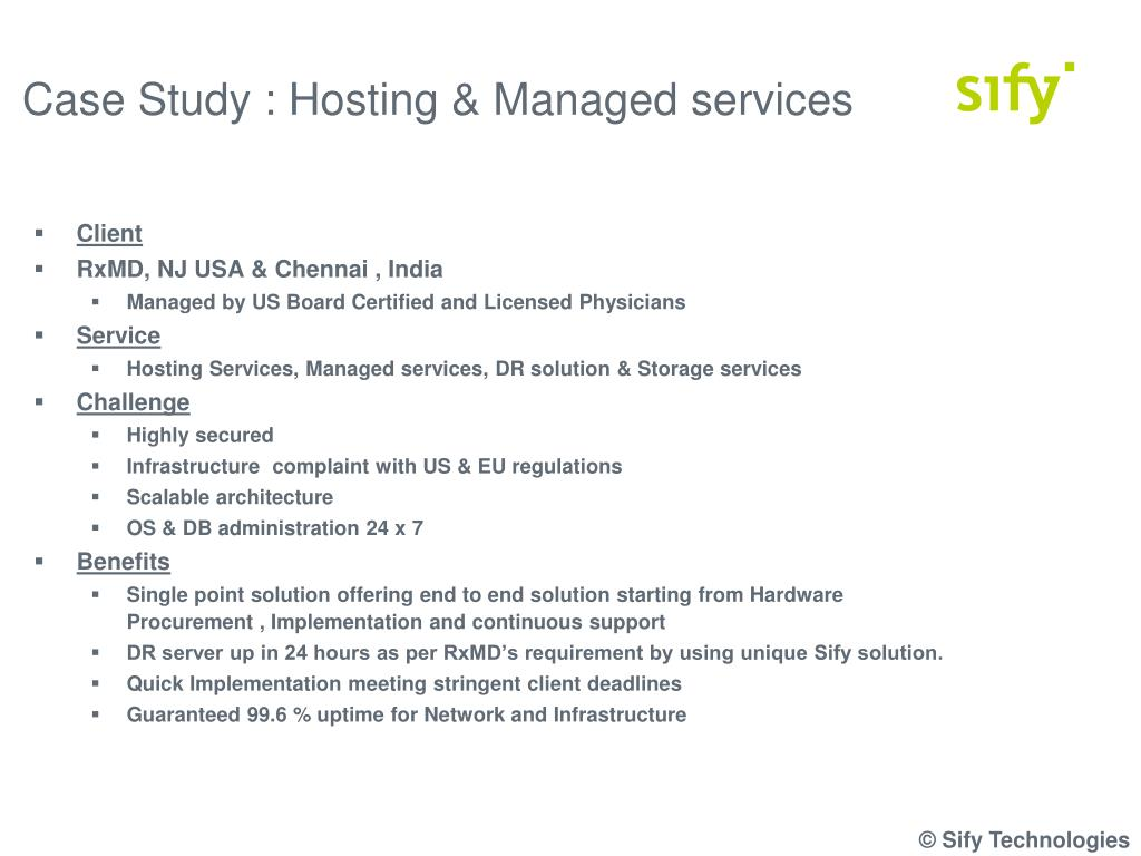 Case Study : Hosting & Managed services