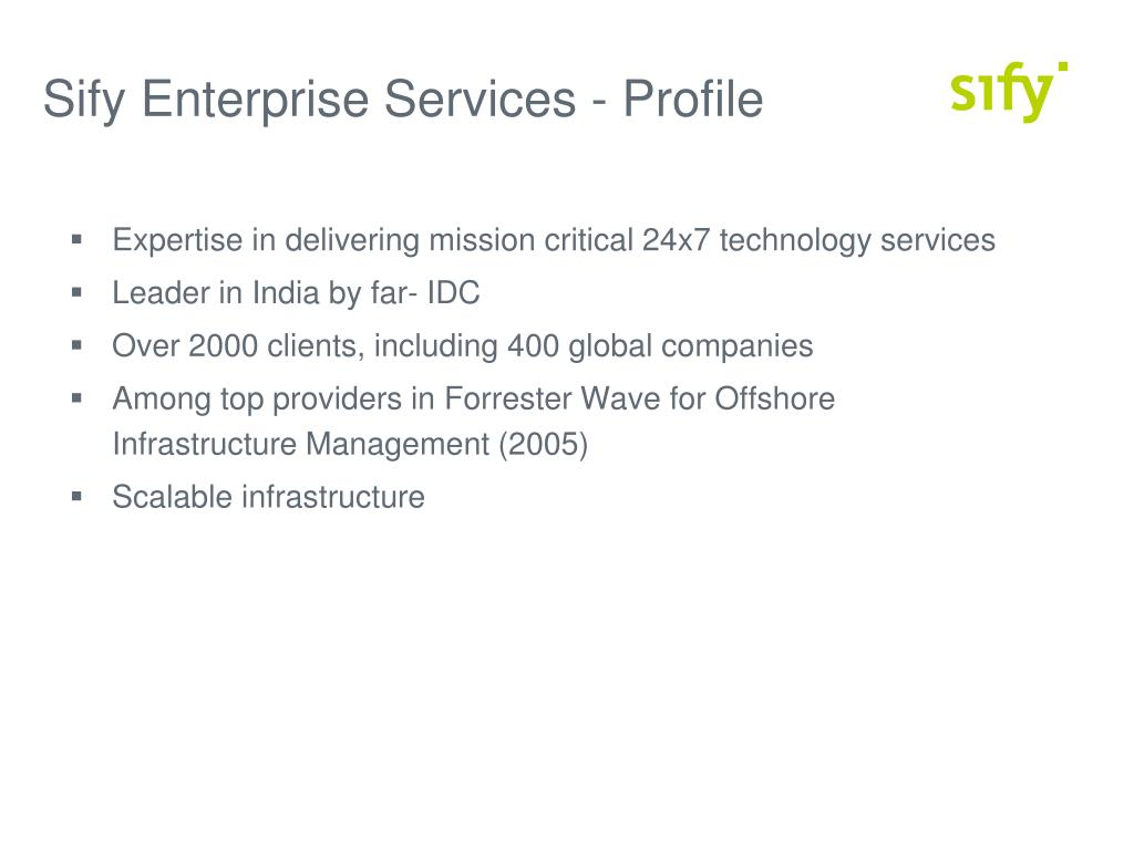 Sify Enterprise Services - Profile