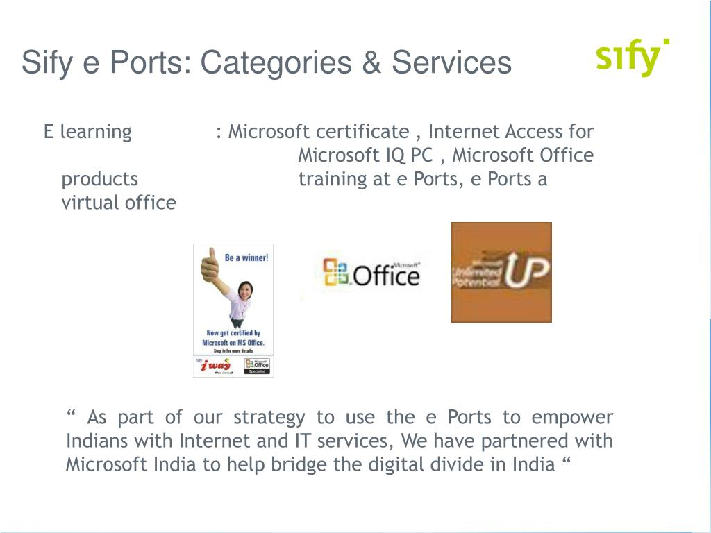 Sify e Ports: Categories & Services