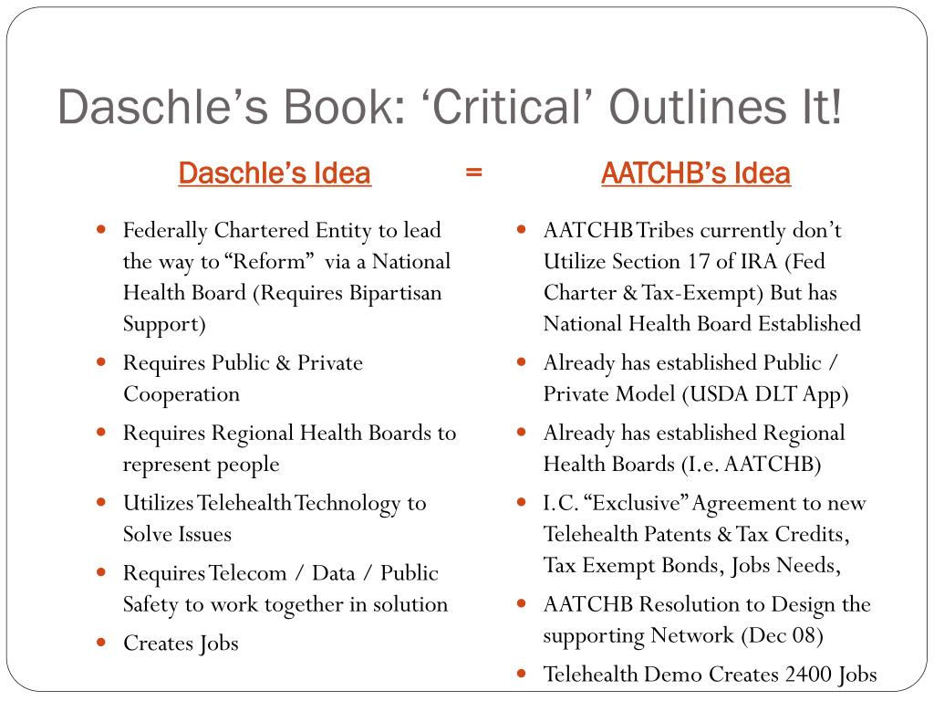 Daschle's Book: 'Critical' Outlines It!