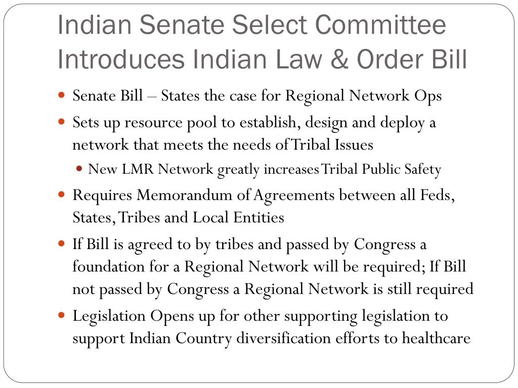 Indian Senate Select Committee Introduces Indian Law & Order Bill