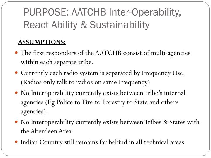 Purpose aatchb inter operability react ability sustainability