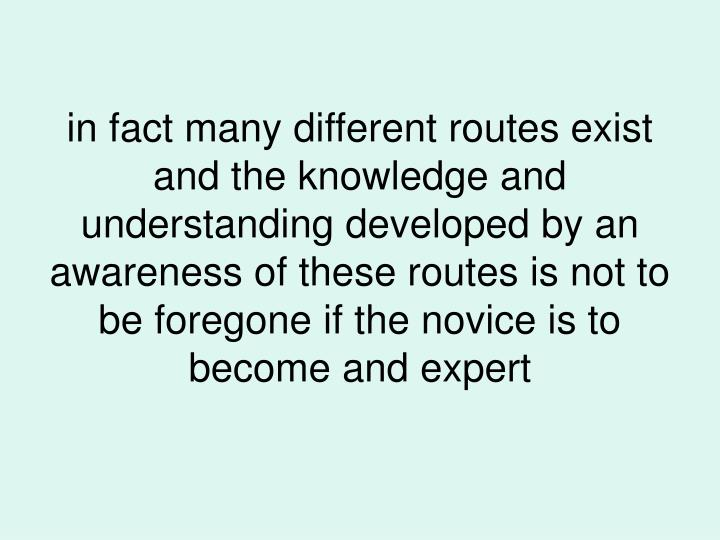 in fact many different routes exist and the knowledge and understanding developed by an awareness of these routes is not to be foregone if the novice is to become and expert