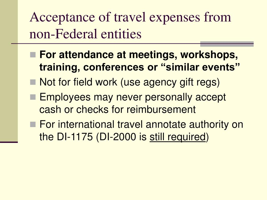 Acceptance of travel expenses from non-Federal entities