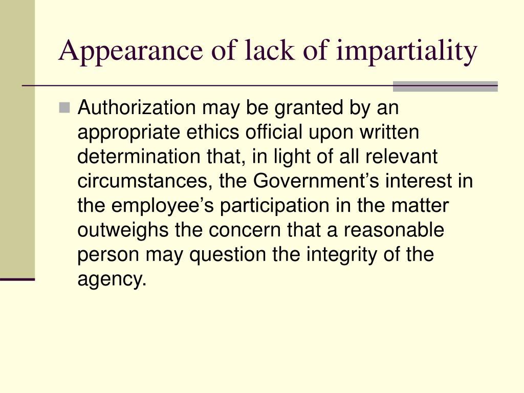 Appearance of lack of impartiality