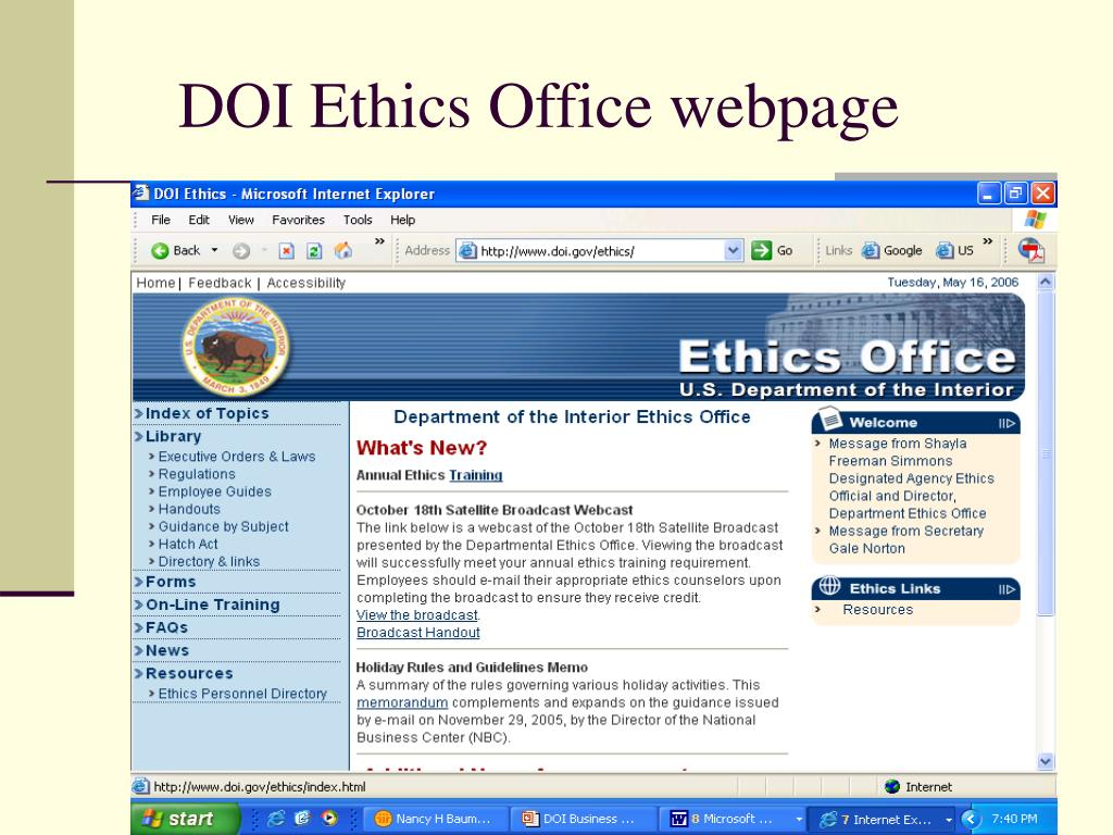 DOI Ethics Office webpage