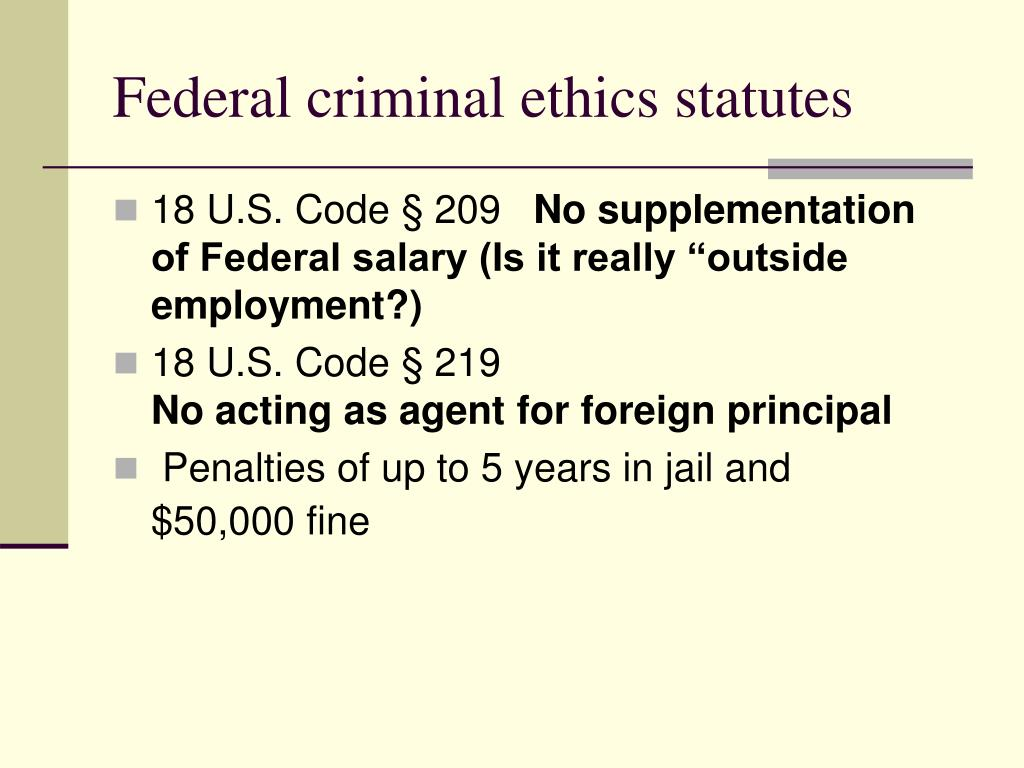 Federal criminal ethics statutes