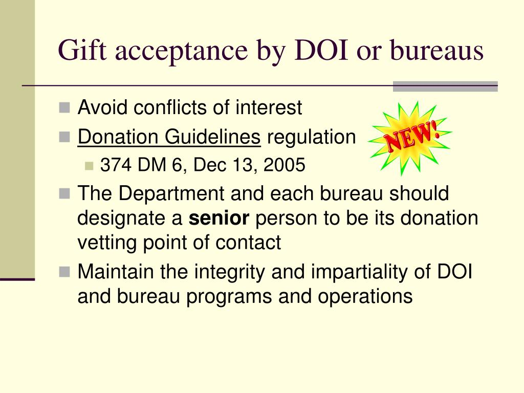 Gift acceptance by DOI or bureaus