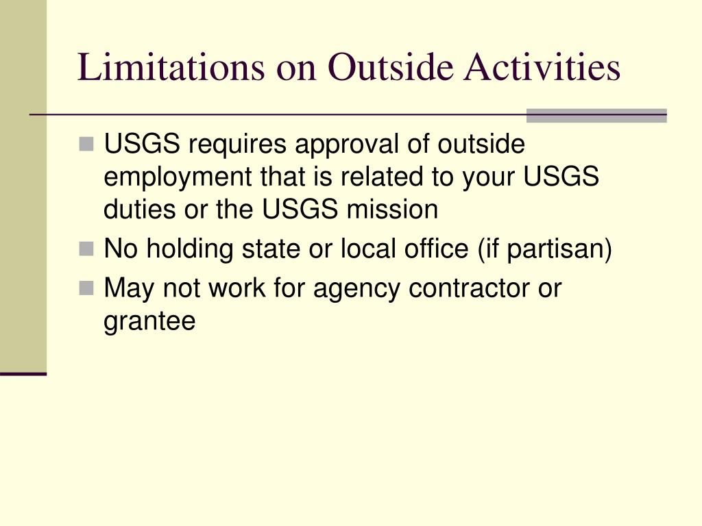 Limitations on Outside Activities