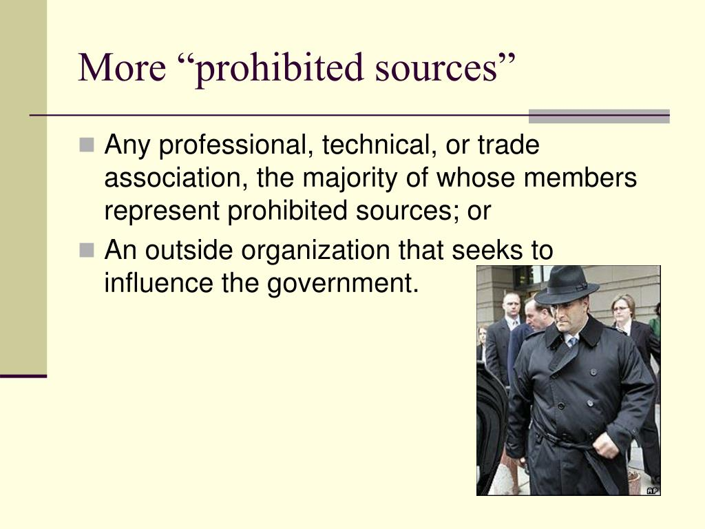 "More ""prohibited sources"""