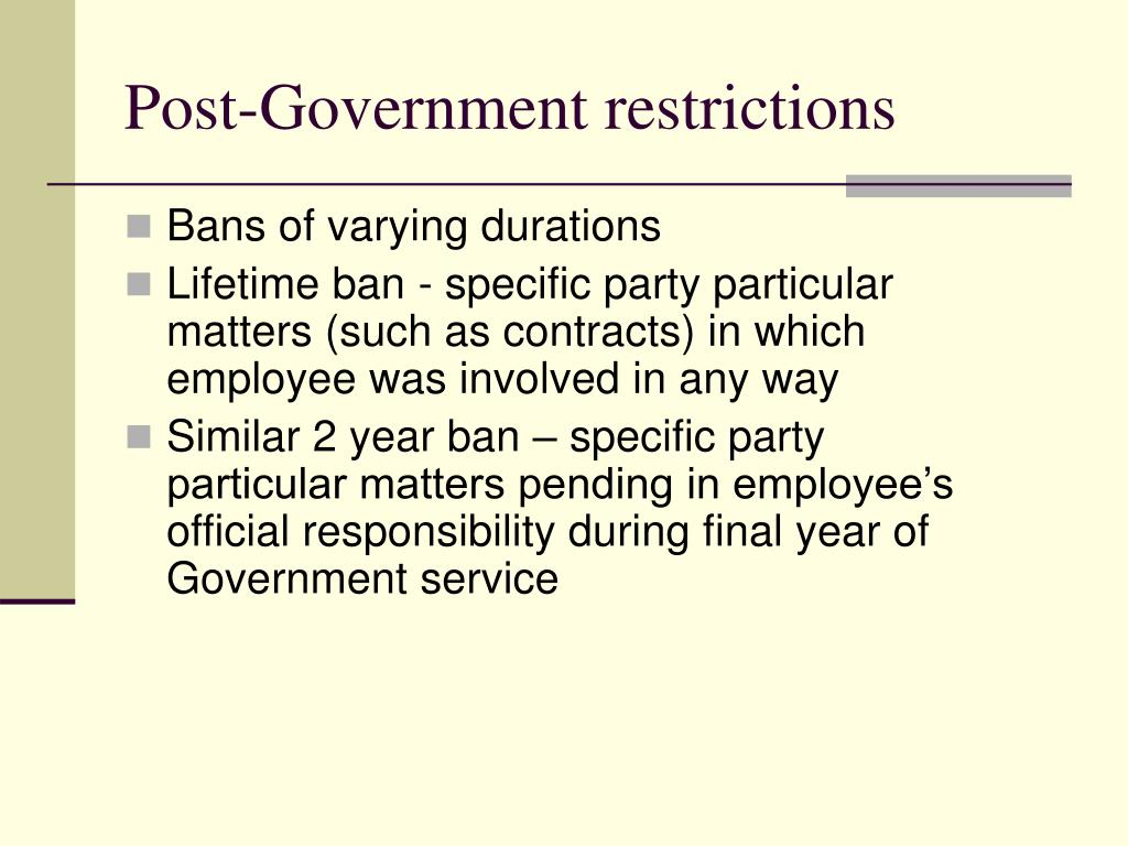 Post-Government restrictions