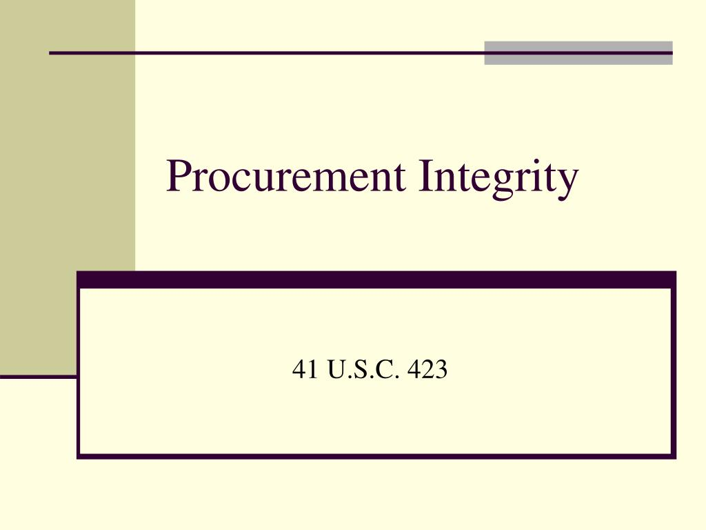 Procurement Integrity