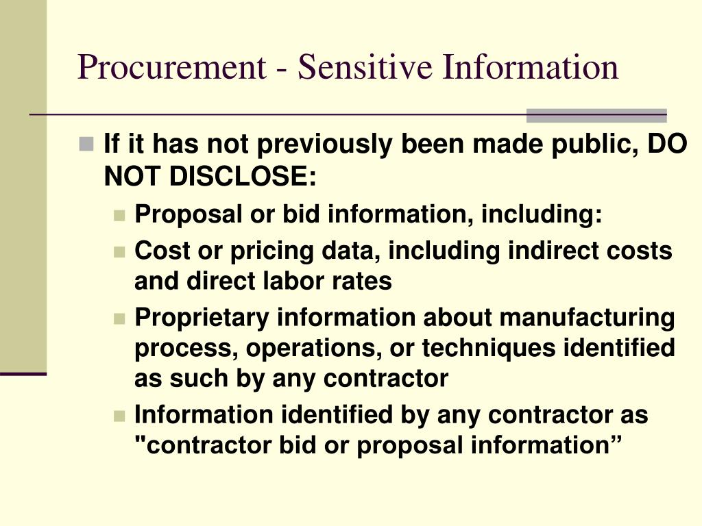 Procurement - Sensitive Information