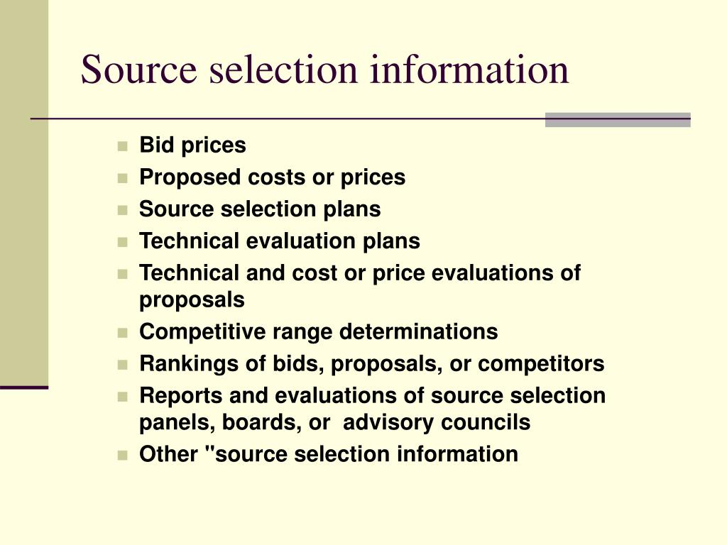 Source selection information