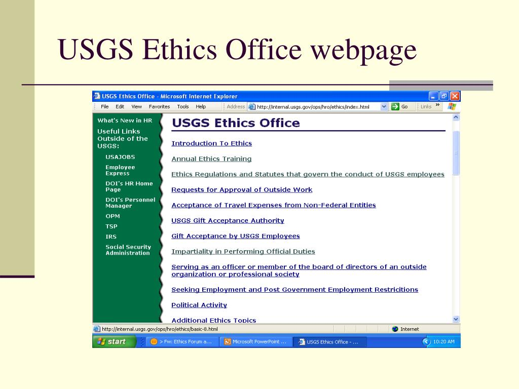 USGS Ethics Office webpage