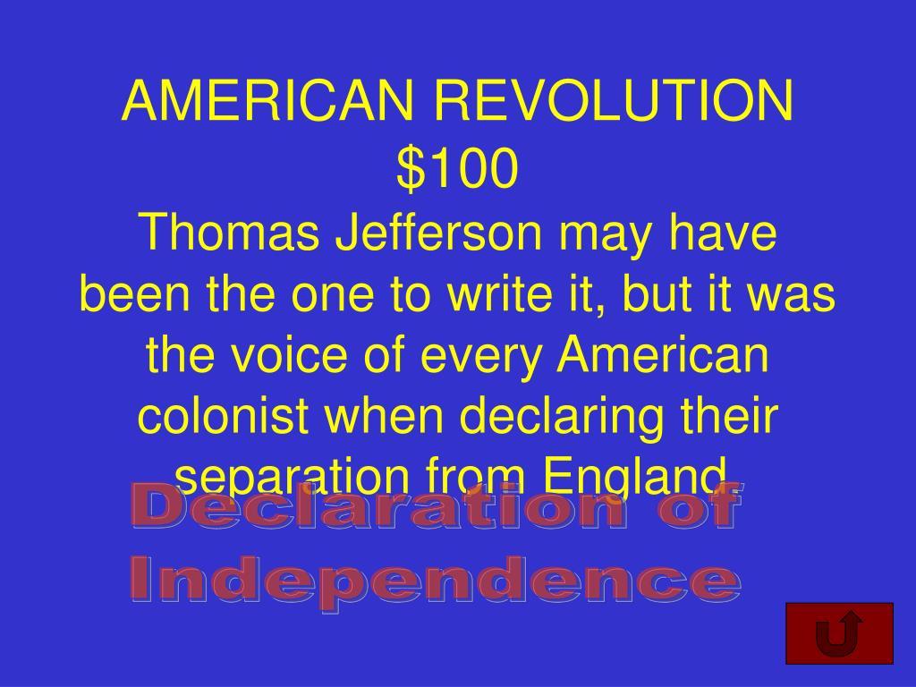 AMERICAN REVOLUTION $100