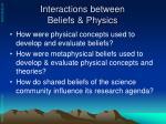 interactions between beliefs physics