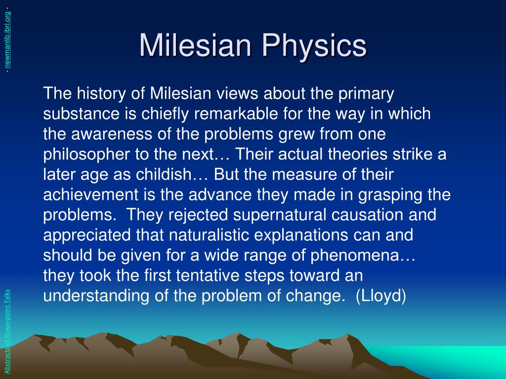 Milesian Physics
