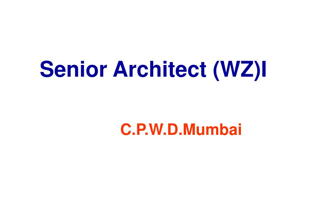 Senior Architect (WZ)I