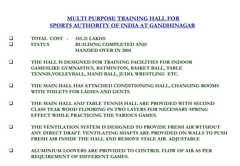 MULTI PURPOSE TRAINING HALL FOR