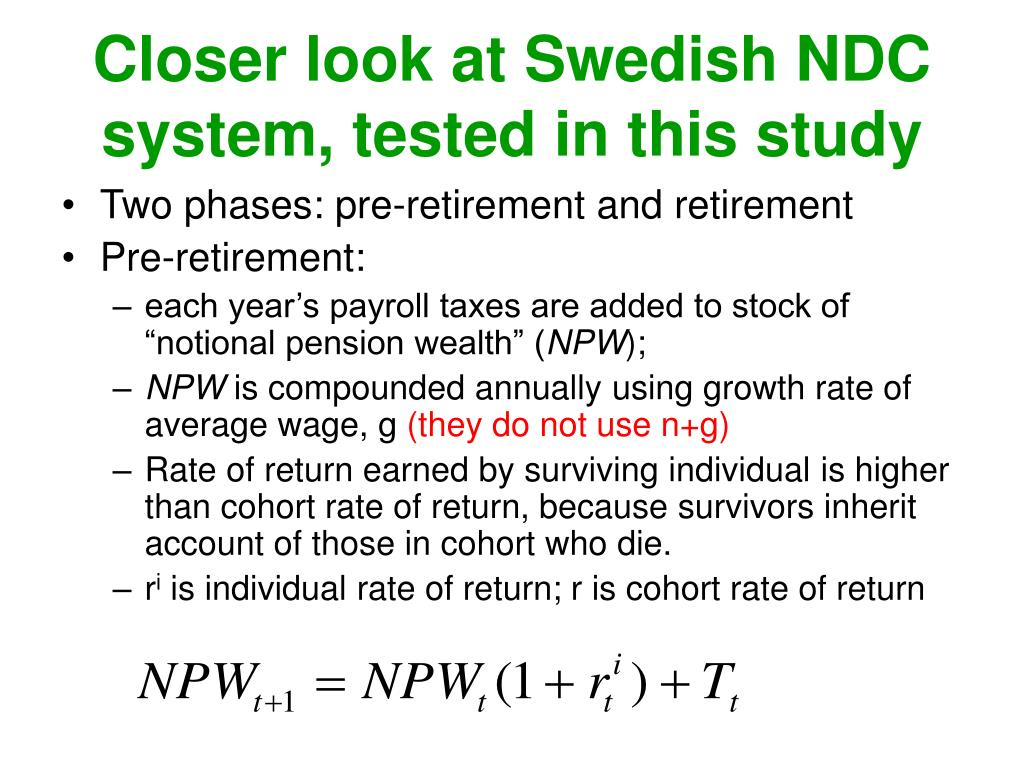 Closer look at Swedish NDC system, tested in this study