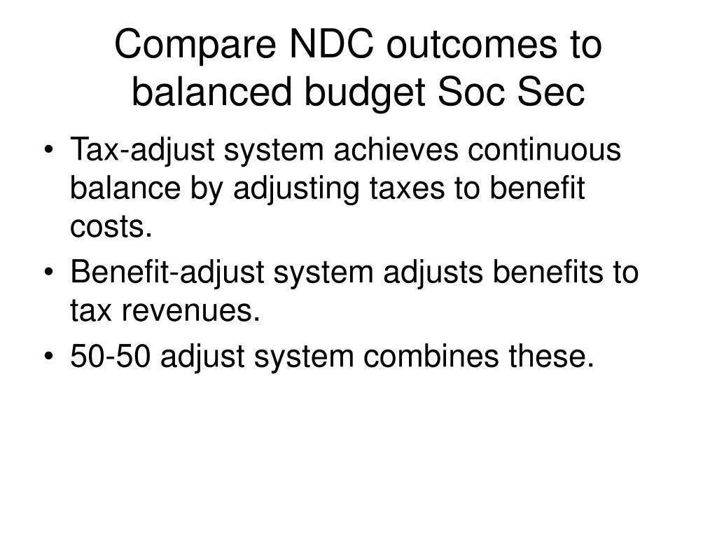 Compare NDC outcomes to balanced budget Soc Sec
