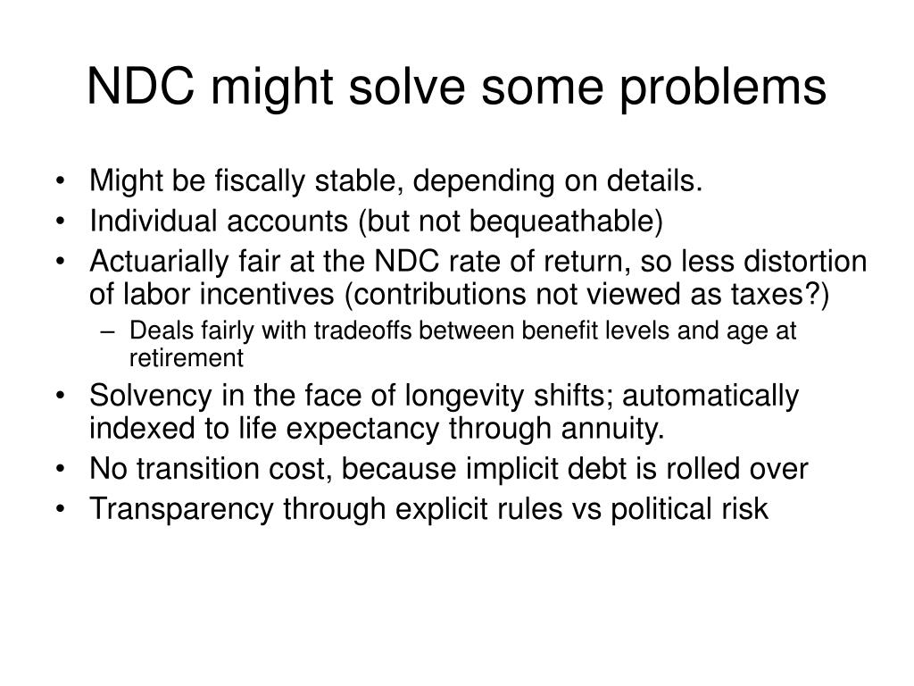 NDC might solve some problems