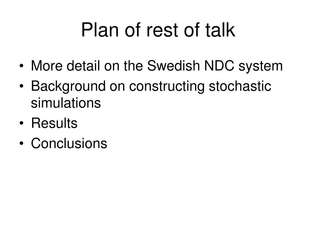 Plan of rest of talk