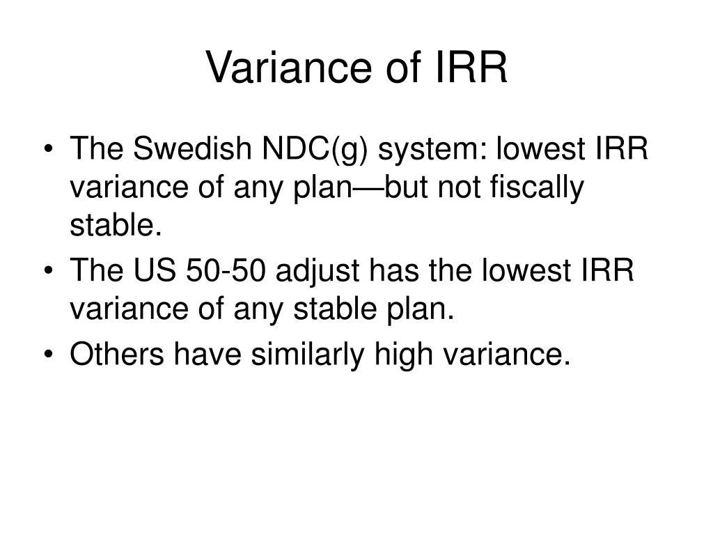 Variance of IRR