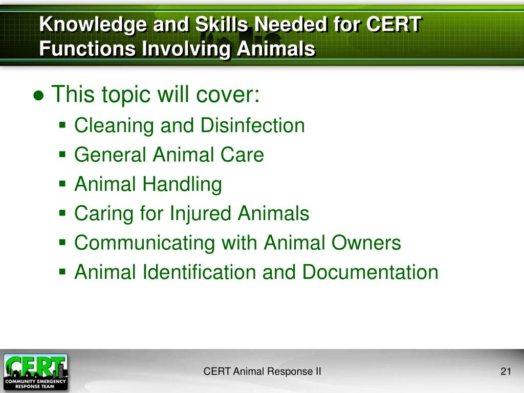 Knowledge and Skills Needed for CERT Functions Involving Animals