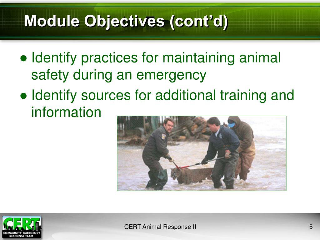 Module Objectives (cont'd)