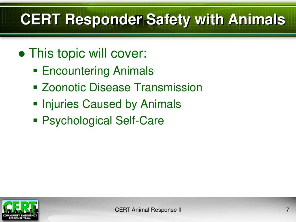 CERT Responder Safety with Animals