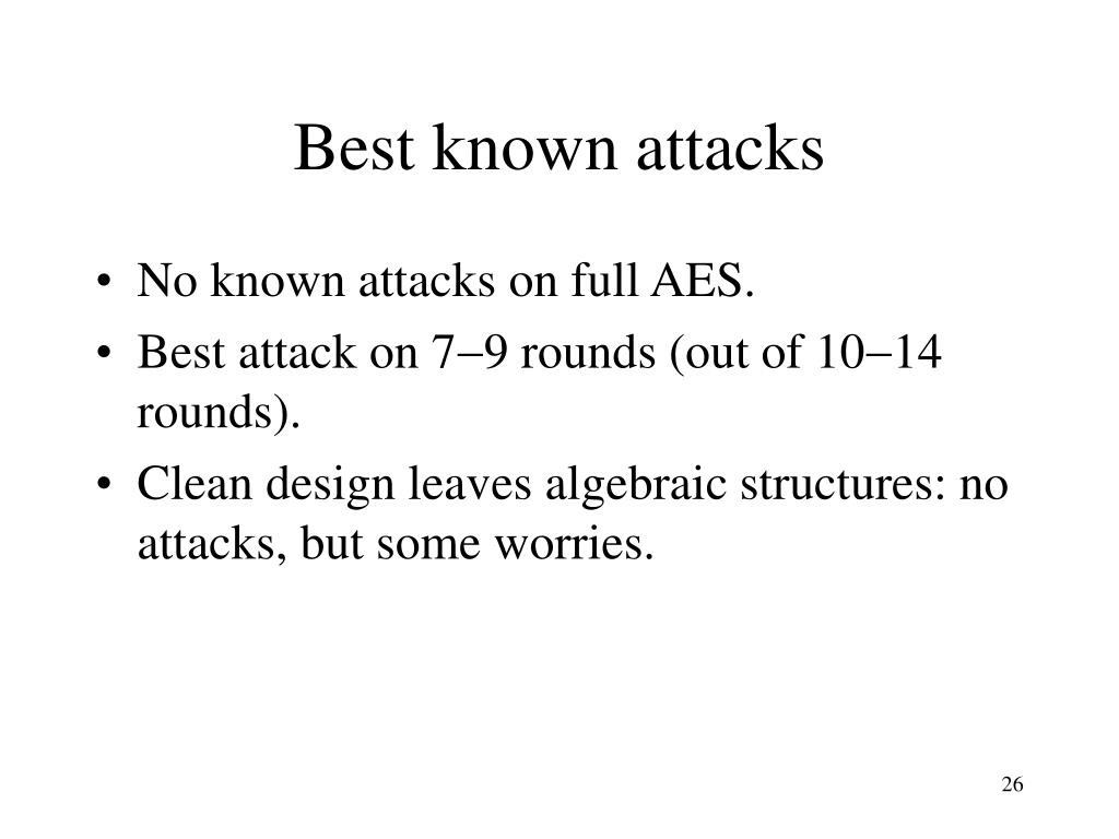 Best known attacks