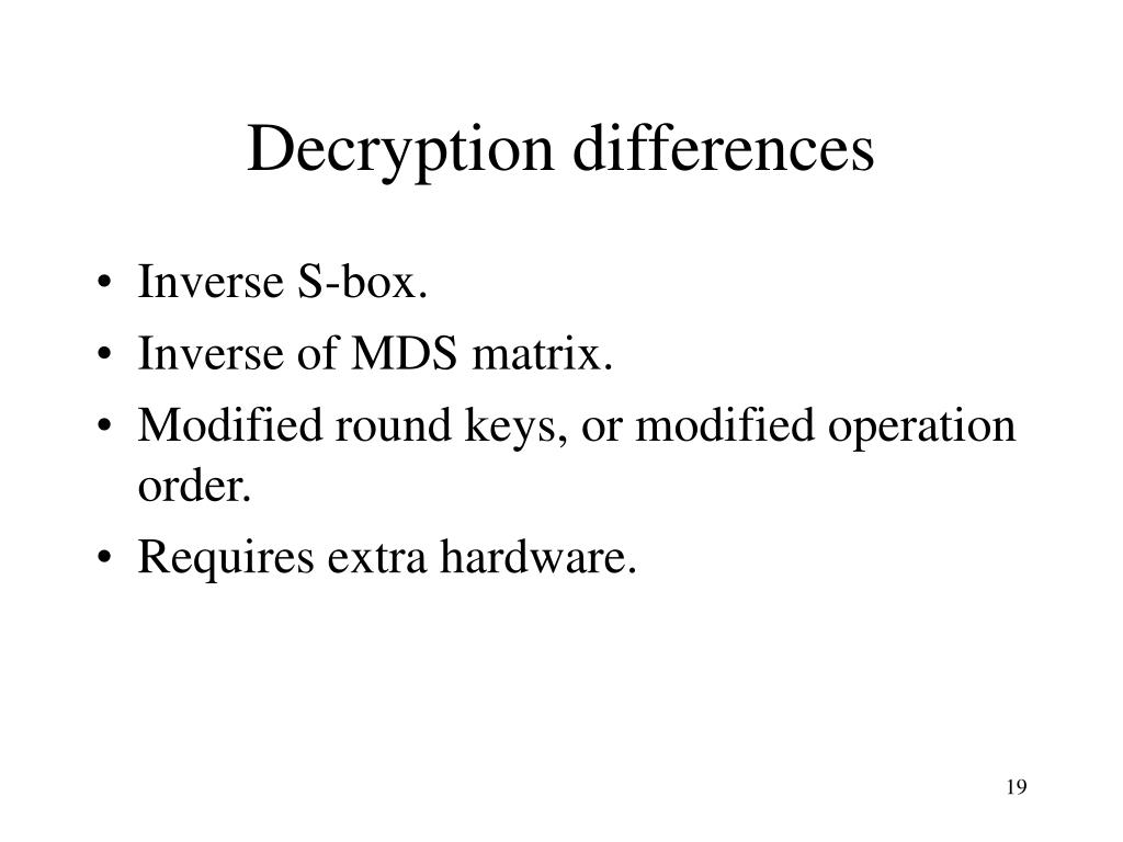 Decryption differences