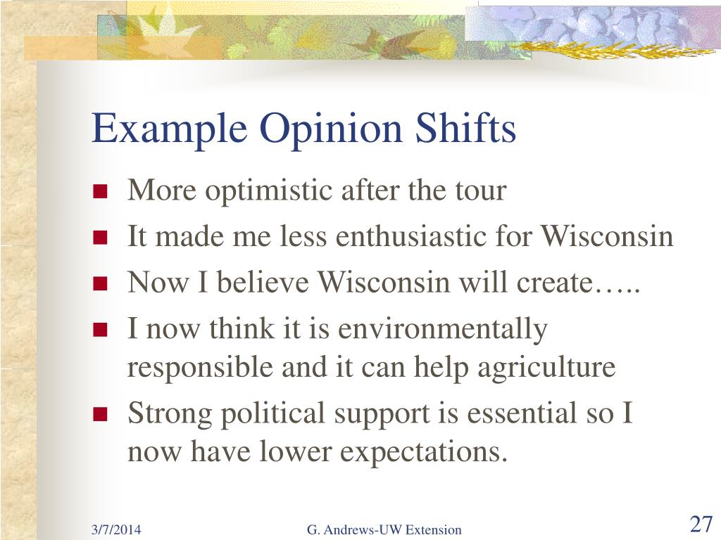 Example Opinion Shifts