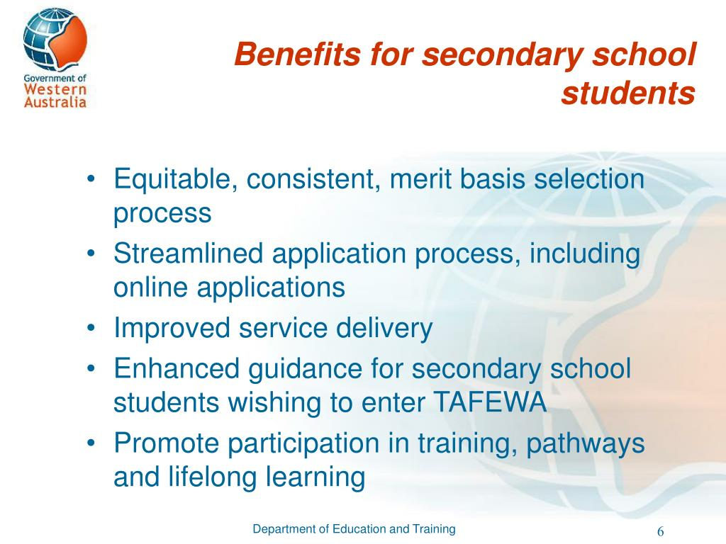 Benefits for secondary school students