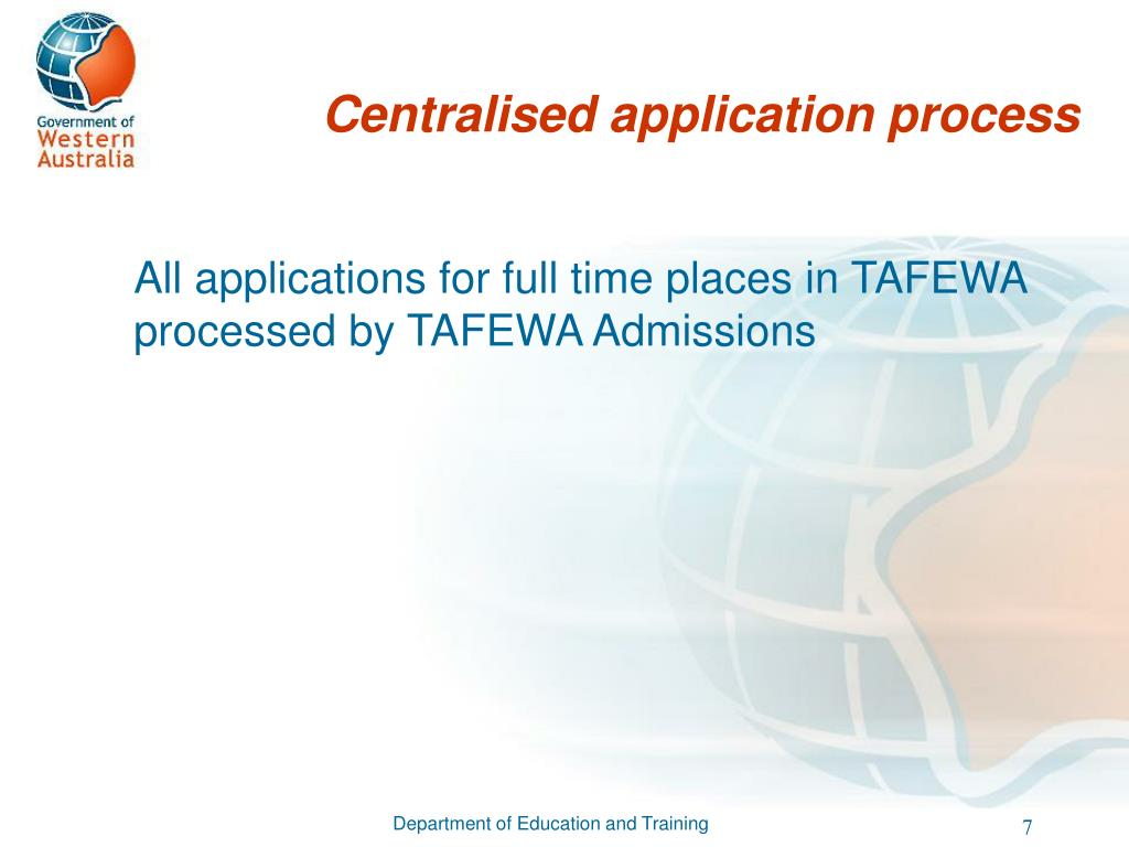 Centralised application process