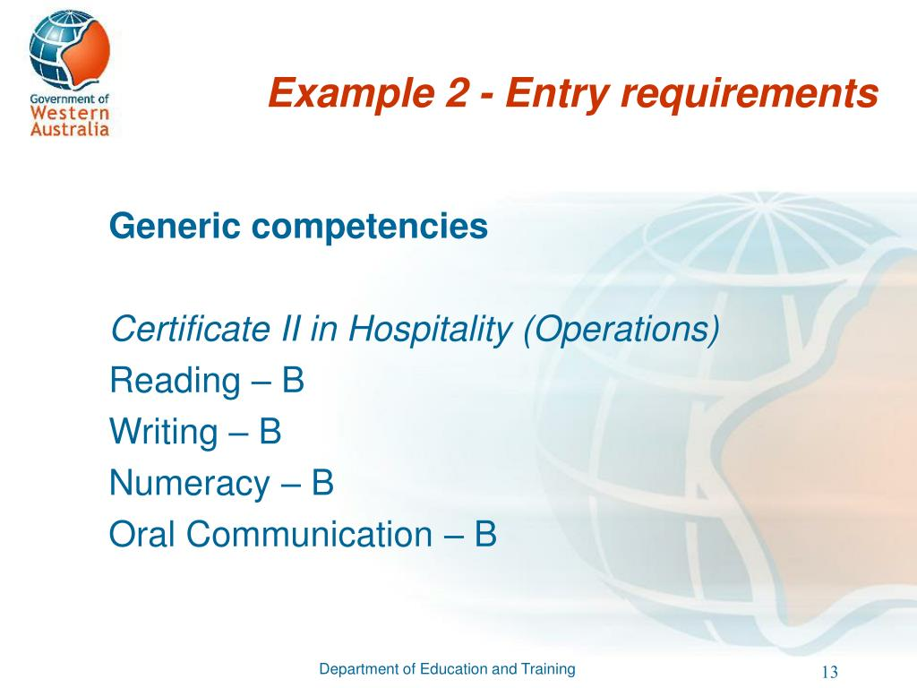 Example 2 - Entry requirements