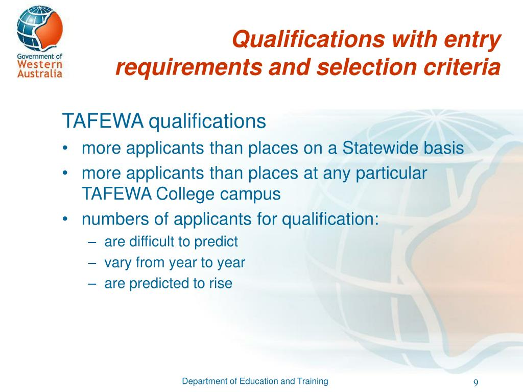 Qualifications with entry requirements and selection criteria