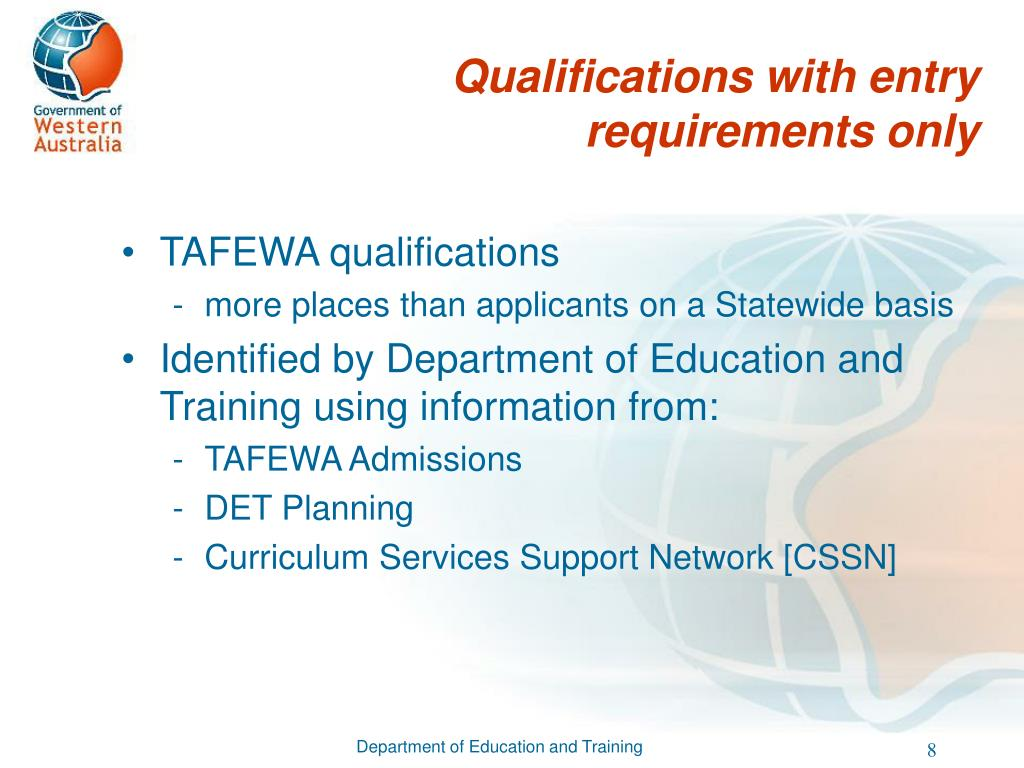 Qualifications with entry requirements only