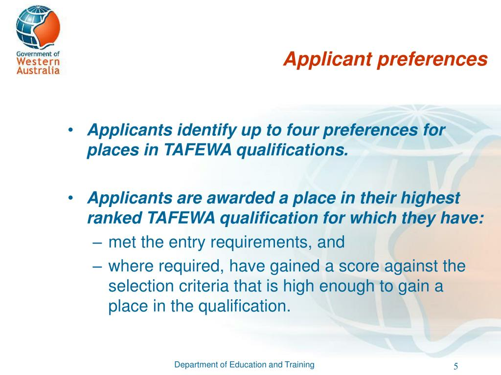 Applicant preferences