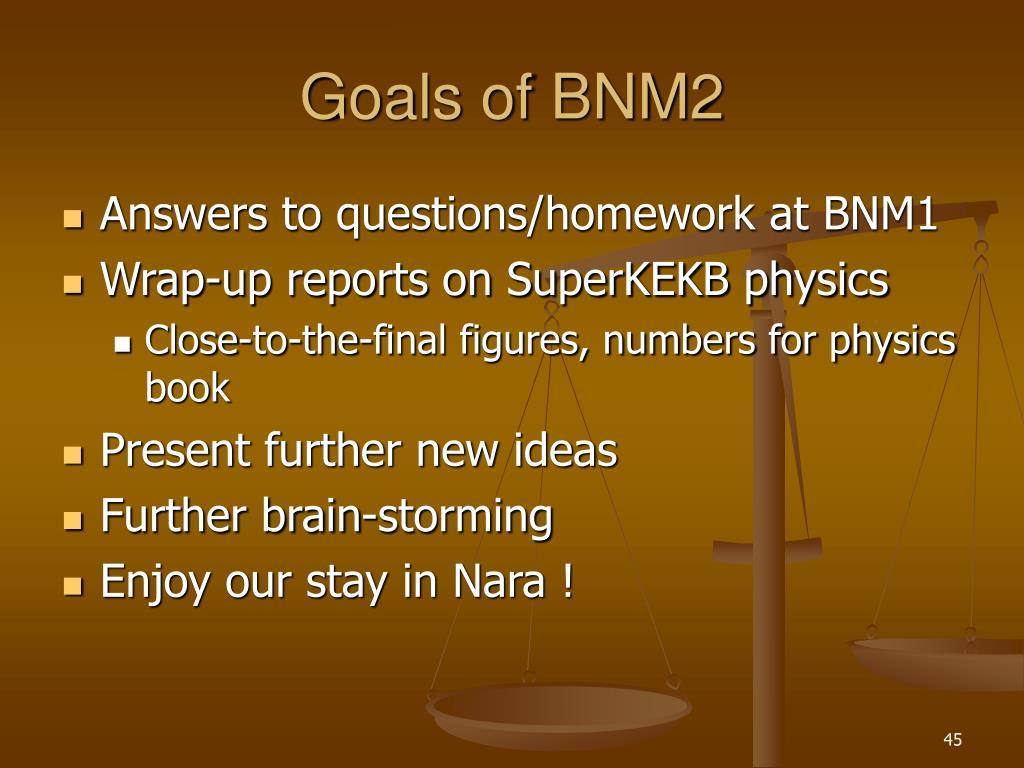 Goals of BNM2