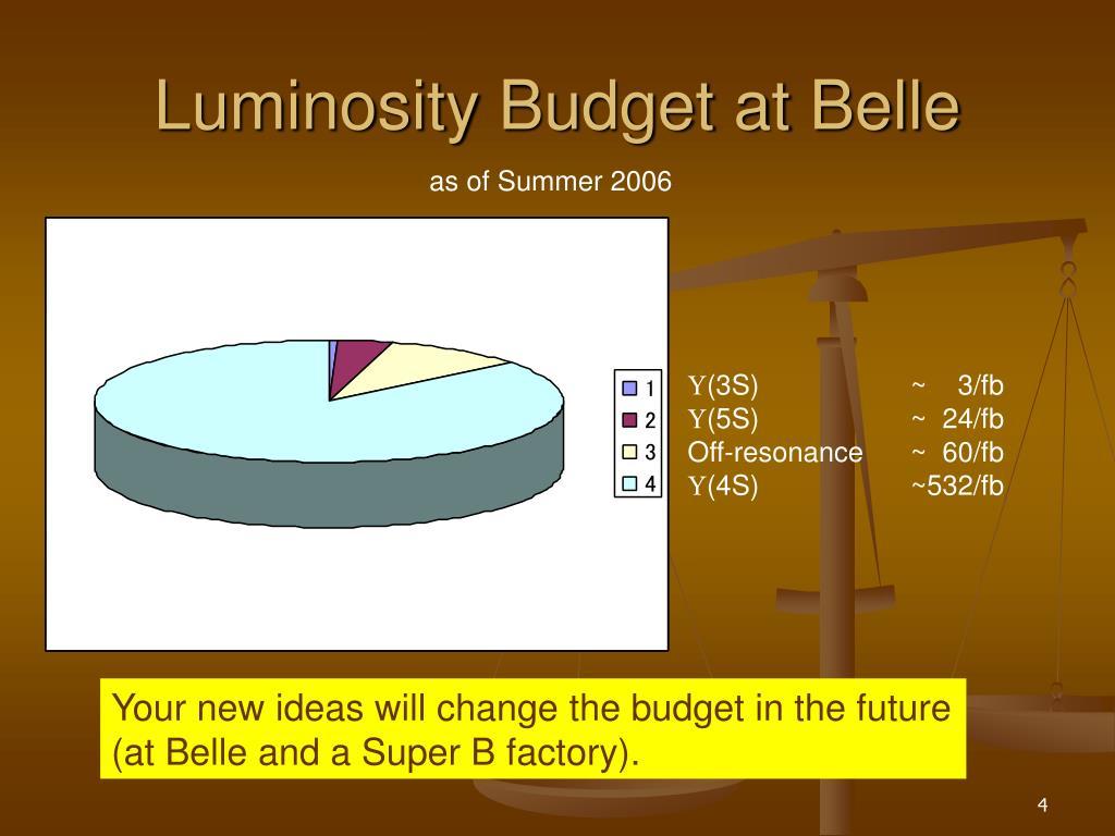 Luminosity Budget at Belle